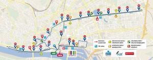 Trasa maratonu (dwie pętle) i półmaratonu (jedna pętla)