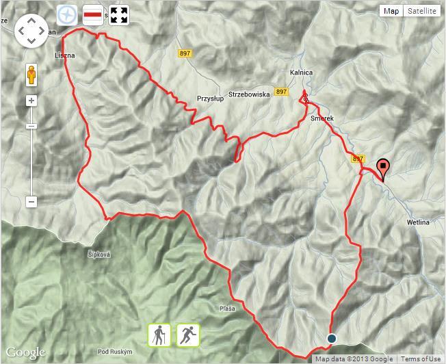 trasa Maratonu Bieszczadzkiego z 2013 roku