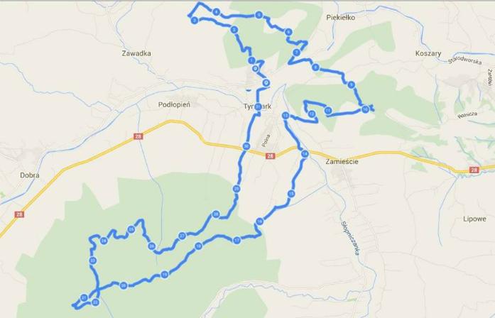 Tymbarskie Pagórki - trasa