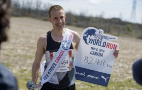 Bartosz Olsewski of Poland seen during the Wings for Life World Run in Niagara Falls, Canada on May 8, 2016.